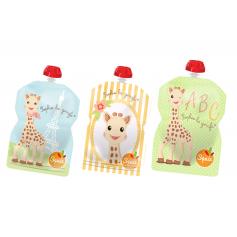Pack de 3 gourdes Squiz Sophie la Girafe + 1 embout en silicone