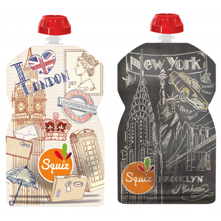 Pack de 2 gourdes Squiz réutilisables Londres/New York
