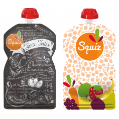 Pack de 2 gourdes Squiz réutilisables Fruits couleurs