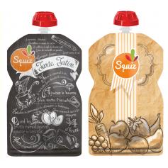 Pack de 2 gourdes Squiz réutilisables Fruits Kraft