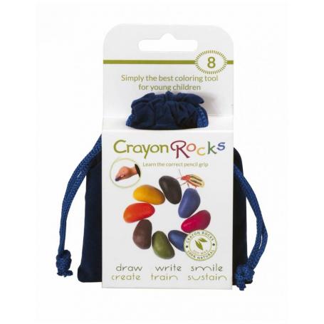 Sachet de 8 Crayon Rocks dans son sachet de transport bleu velvet