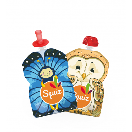 Pack de 2 gourdes Squiz Nature réutilisables + 2 embouts SquizTop