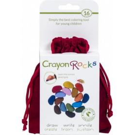 Sachet de 16 Crayon Rocks dans son sachet de transport en velours rouge
