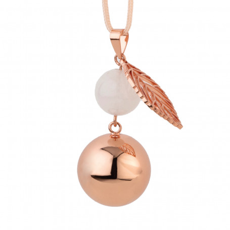 Bola de grossesse Rose cuivré avec perle et feuille VO206