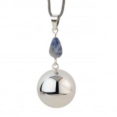 Bola de grossesse Argent brillant avec pierre bleu-gris VO207