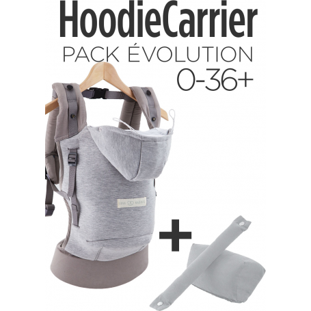 Pack Bundle HoodieCarrier Gris Athletique + Rehausseur Gris Clair