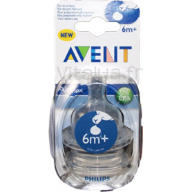 Lot de 2 tétines Classic 6 mois+ (débit variable) Philips AVENT