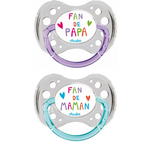 "Lot de 2 sucettes 18m+ ""Duo Fan"" silicone Dodie"