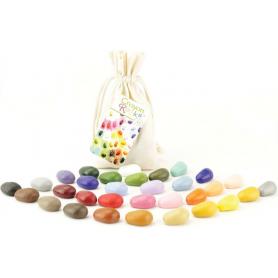 Sachet de 32 Crayon Rocks dans son sachet de transport en coton écru